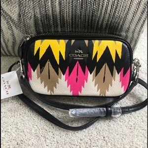NWT COACH Double Zip Crossbody Hawk Feather Bag